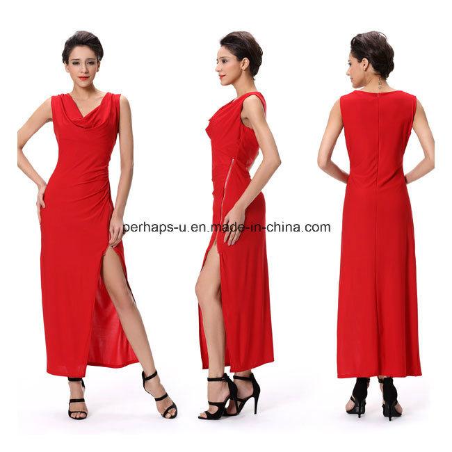 Fashion Red Night Evening Sexy Long Dress Sleeveless Ladies Wear