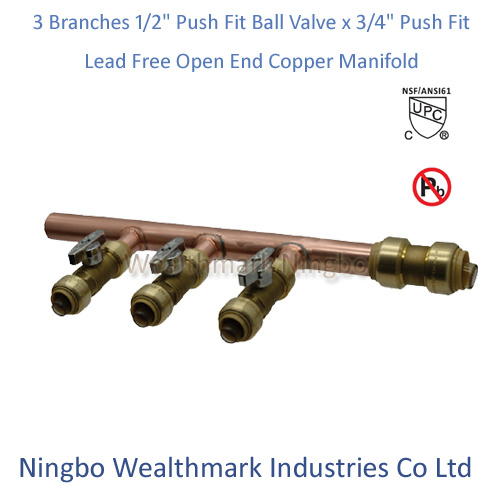 "Lead Free 3 Branches 1/2"" Push Fit Ball Valves X 3/4"" Push Fit Open End Copper Manifold"