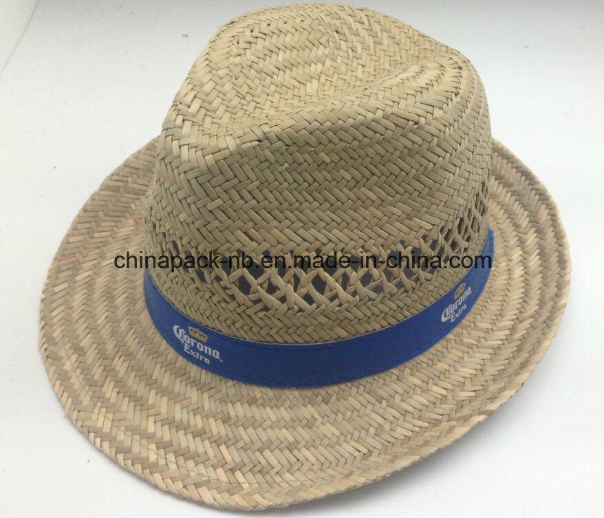 Corona Nature Straw Fedoea Hats with PU Ribbon (CPA_60232)