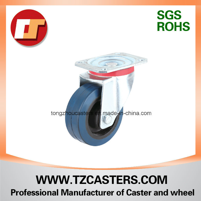 Swivel Caster with Elastic Blue Rubber Wheel+Black Nylon Center (C001-SC80-200)