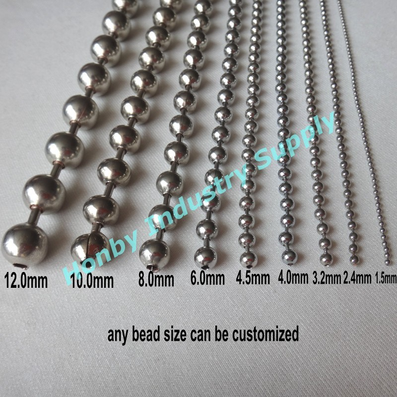 Honby Supply Full Size Shiny Silver Metal Beaded Ball Chain