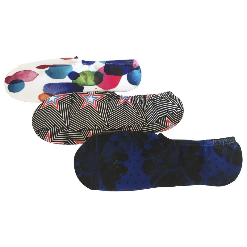 Half Cushion Poly Fashion Print Chuck Hidden Liner Socks (JMPT02)