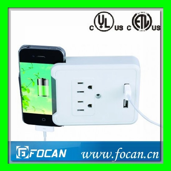 2 Outlets Surge Protected Current Tap with USB Charging Ports and Smartphone Cradle