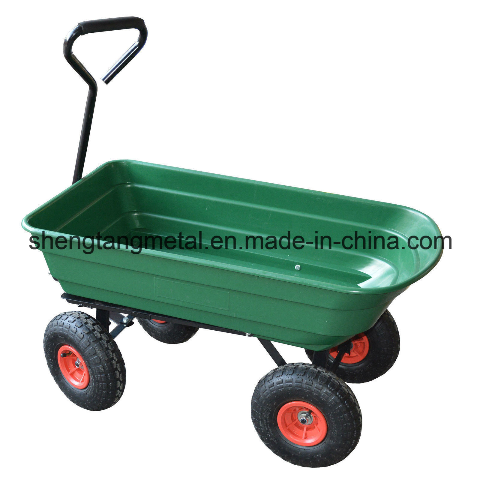 4 Wheel Garden Cart Truck 75L Sack Trolley Wheelbarrow Tipper Tipping Trailer