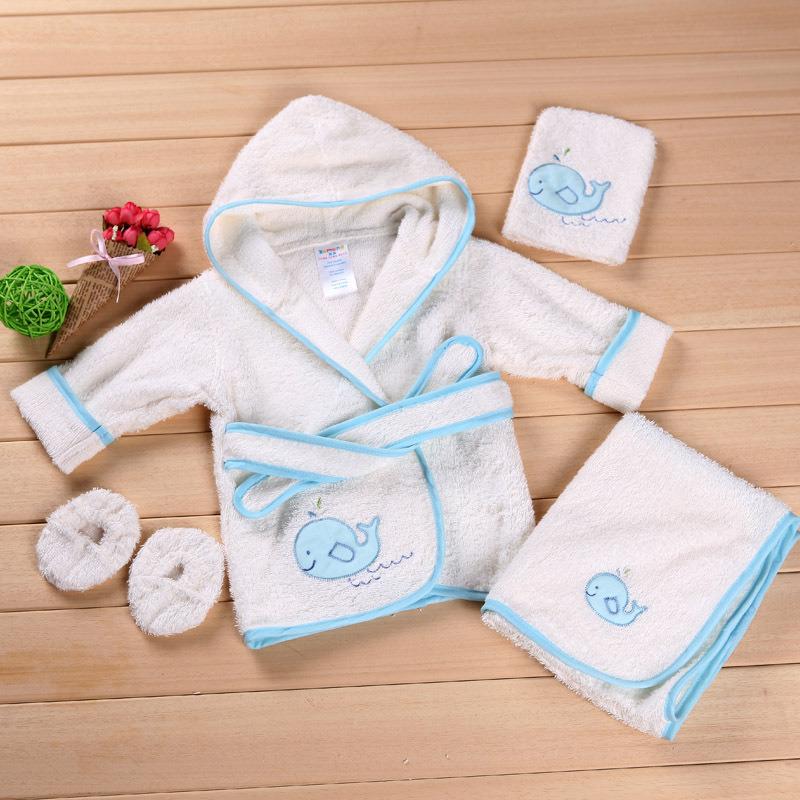 100% Cotton Bath Towel Loofah Shoes Baby Bathrobe Set