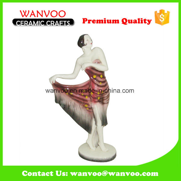 Woman in Long Dress Ceramic Figurine for Decoration Home Ornament