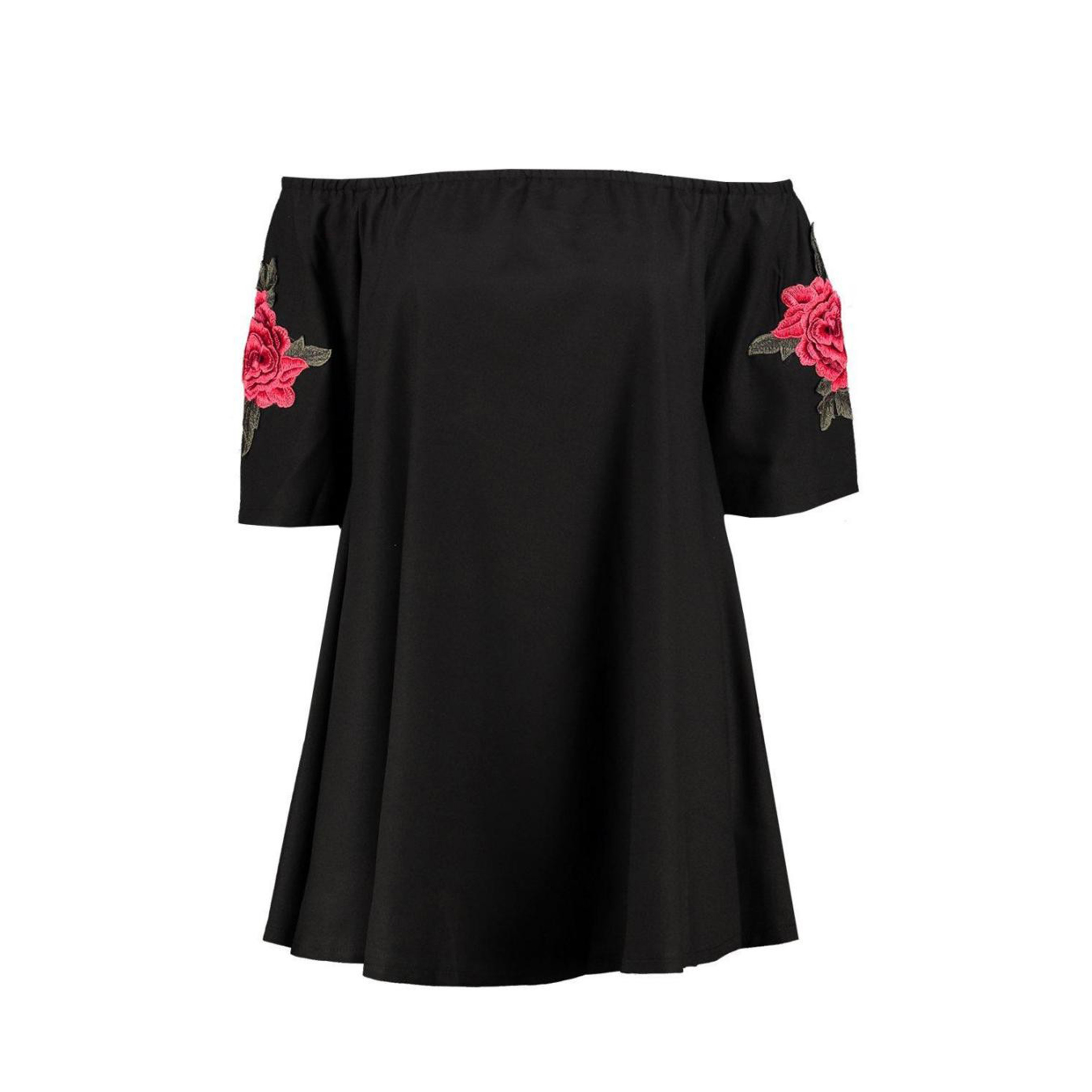 Fashion Women Casual Loose Sexy Flower Embroidery Party Tube Dress