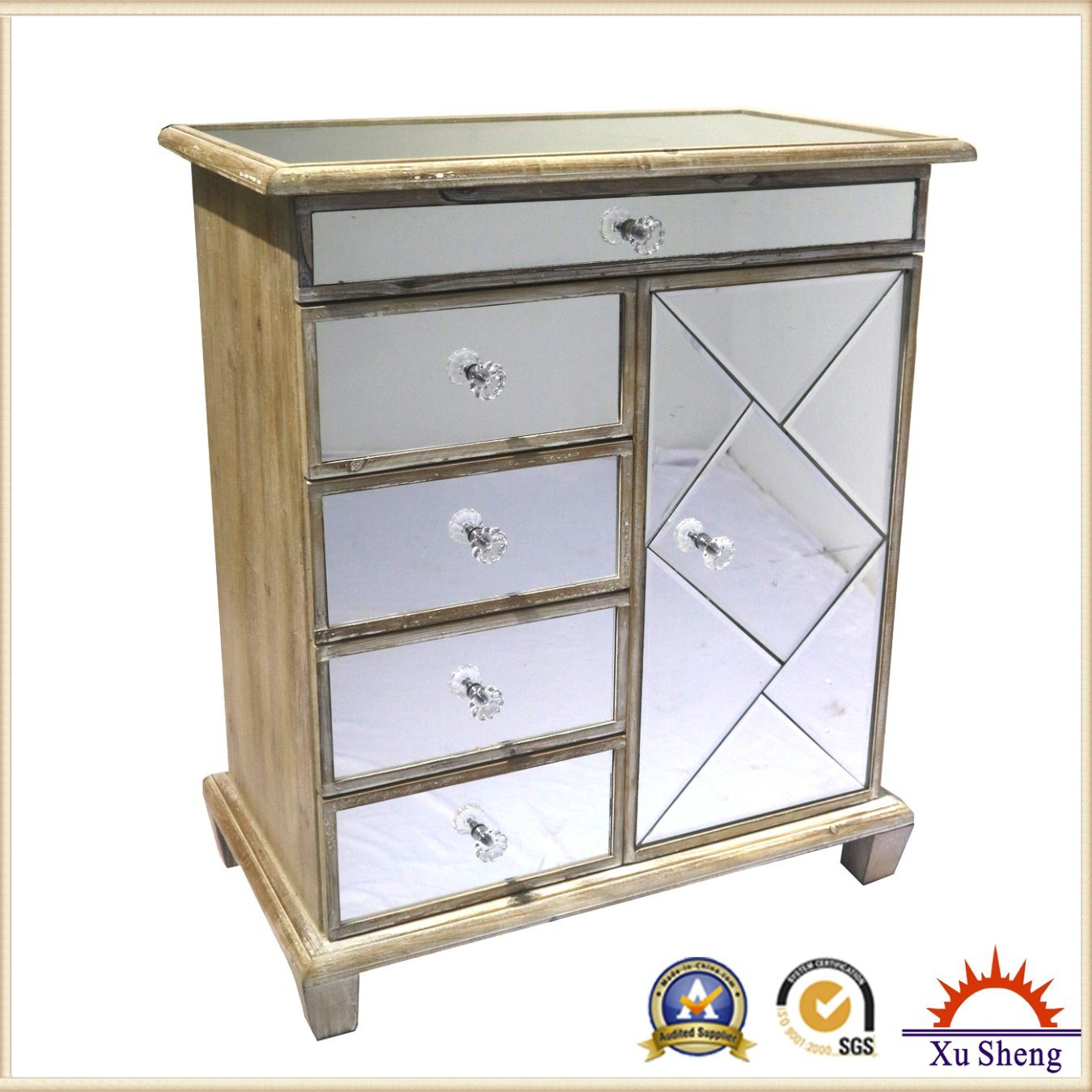 Mirrored Vineyard -Chic Three Drawer Chest Framed with Natural Timber