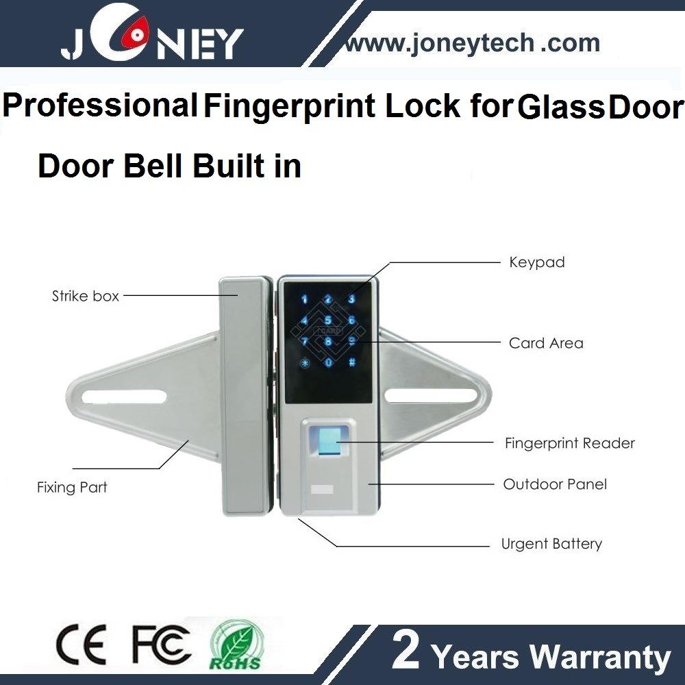 Professional Manufacturer Indoor Fingerprint Glass Door Lock with Handle