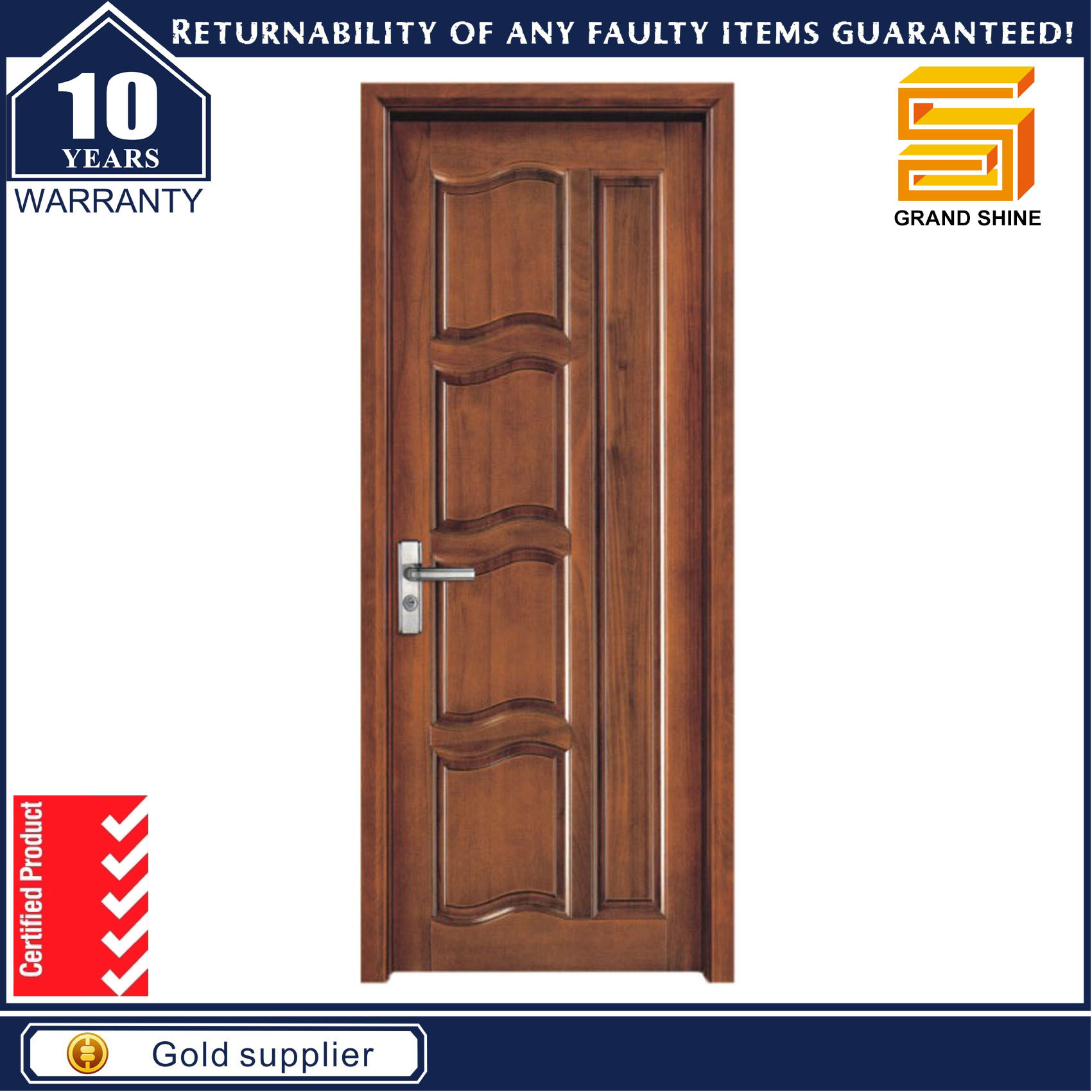Wooden Interior Composite Wood Veneer MDF Panel Door