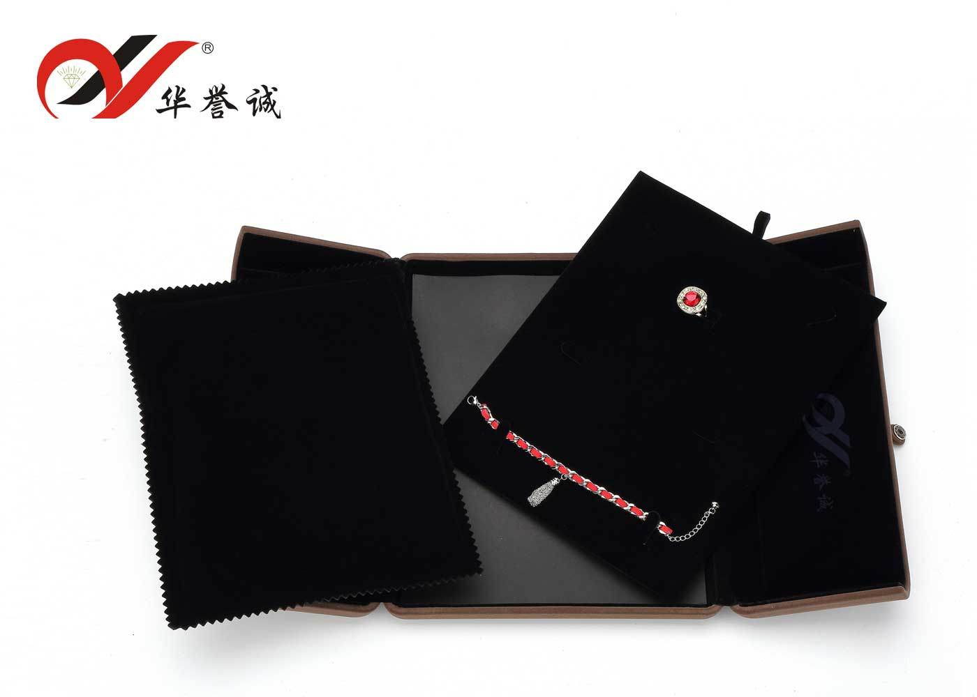 Foldable Brown Velvet Jewelry Box for Jewelry Set Display