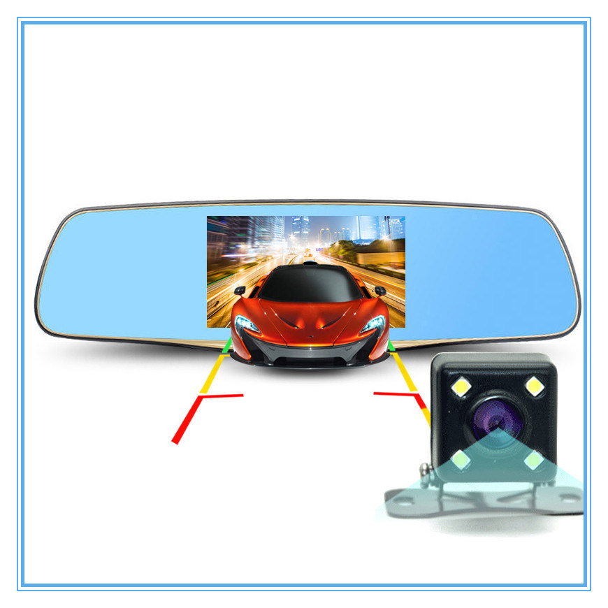 5.0 Inch Rearview Mirror Dual Lens with Car Dvrs