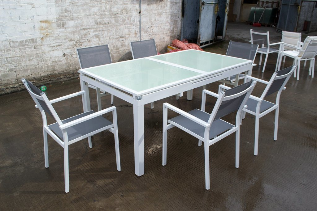 Textilene Aluminum Outdoor Garden Furniture 8 Seaters Dining Set TF-6148