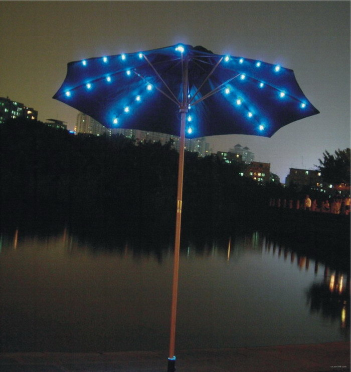 solar patio umbrella solar patio umbrella the garden lights guru. Black Bedroom Furniture Sets. Home Design Ideas