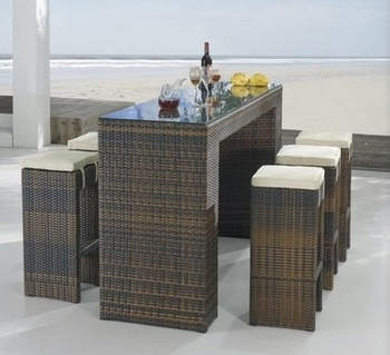 Wicker Outdoor Furniture on Outdoor Wicker Furniture Rattan Bar Set
