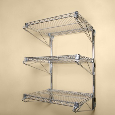 China 3 Shelves Chrome Wire Wall Mounted Shelving Kit and