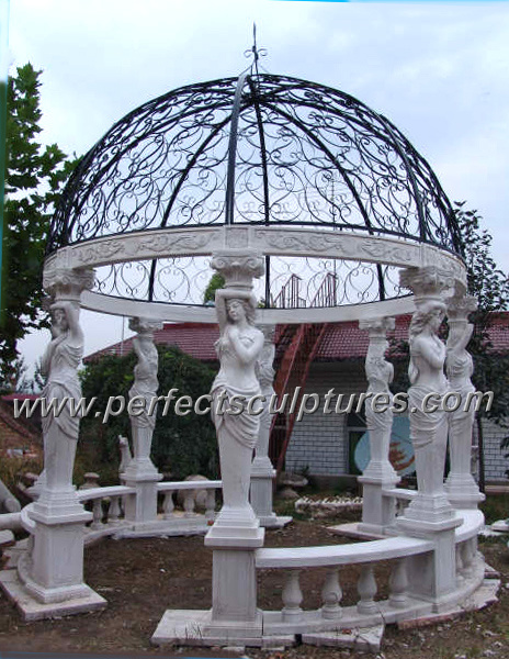 Stone Marble Garden Gazebo with Casting Iron Top (GR034)