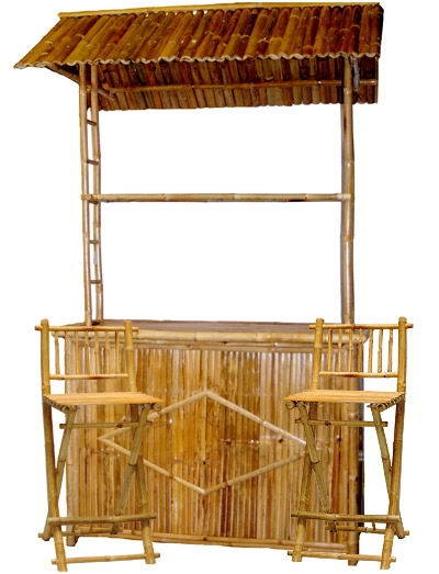 China Bamboo Tiki Bar With Stools 01 China Bamboo Furniture Bamboo Outdoor Furniture