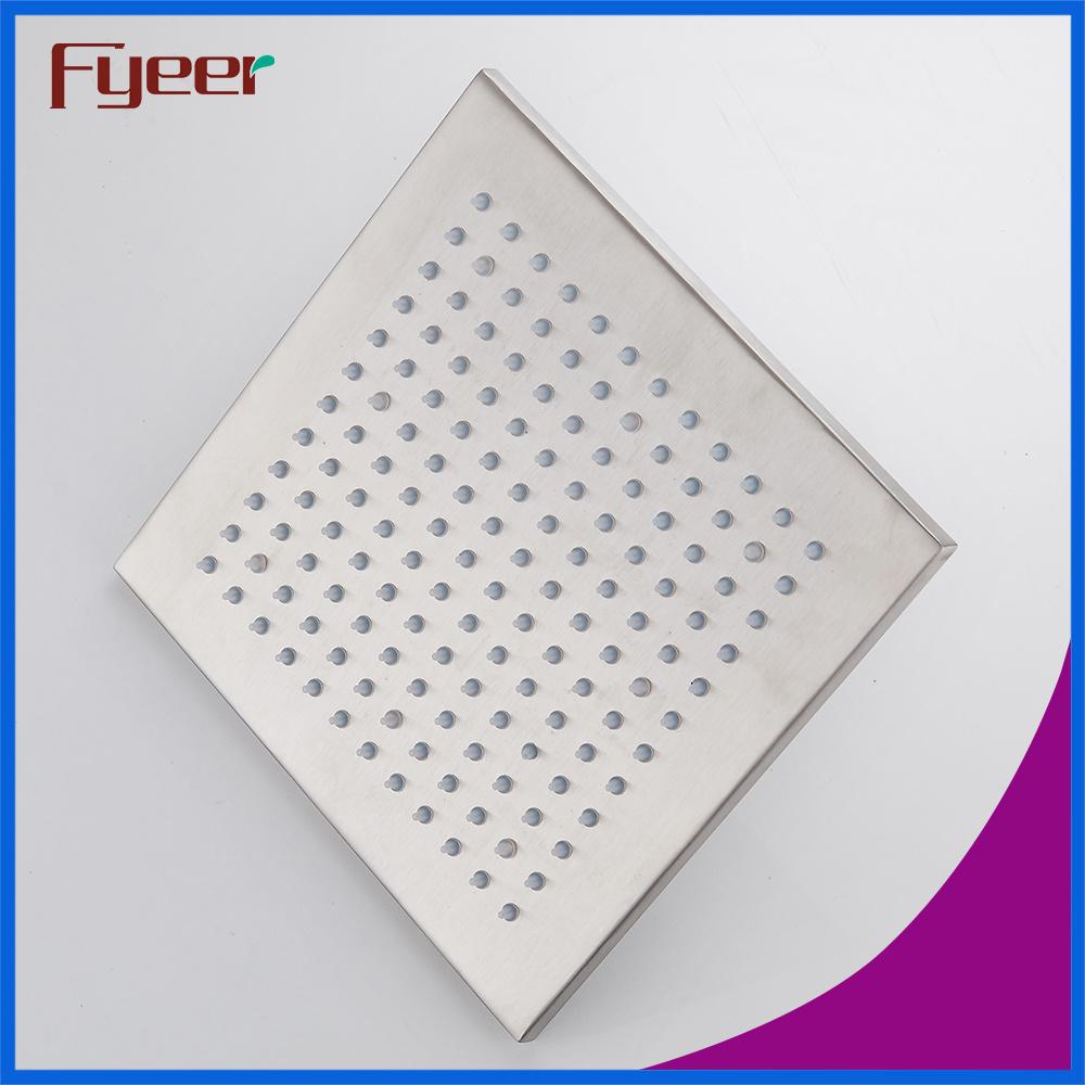 Fyeer Nickle Brushed Lighted Shower Head with Temperature Sensor