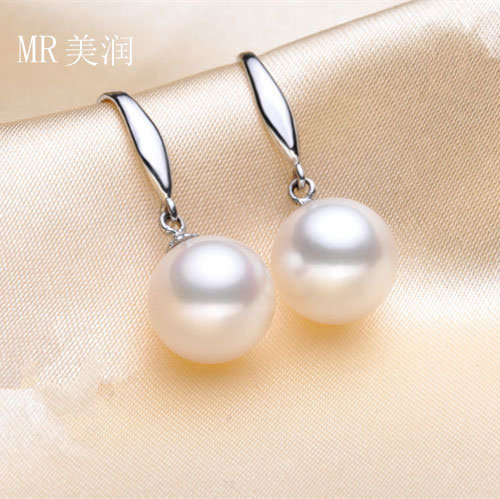 White Round Freshwater Pearl Earring, Silver Hook