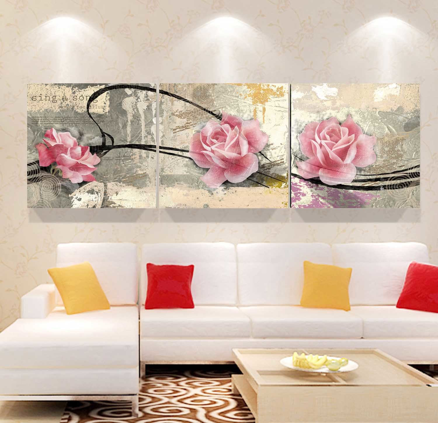 3 Panel Wall Art Oil Painting Pink Flowers Painting Home Decoration Canvas Prints Pictures for Living Room Mc-253