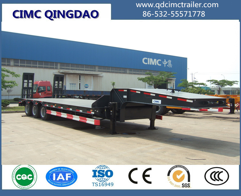 Cimc 3 Fuwa Axles 80 Tons Flat Lowbed Semi Truck Trailer Chassis