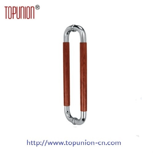Elegant Design Stainless Steel 304 Tube Wooden Pull Handle (JPWPH014)