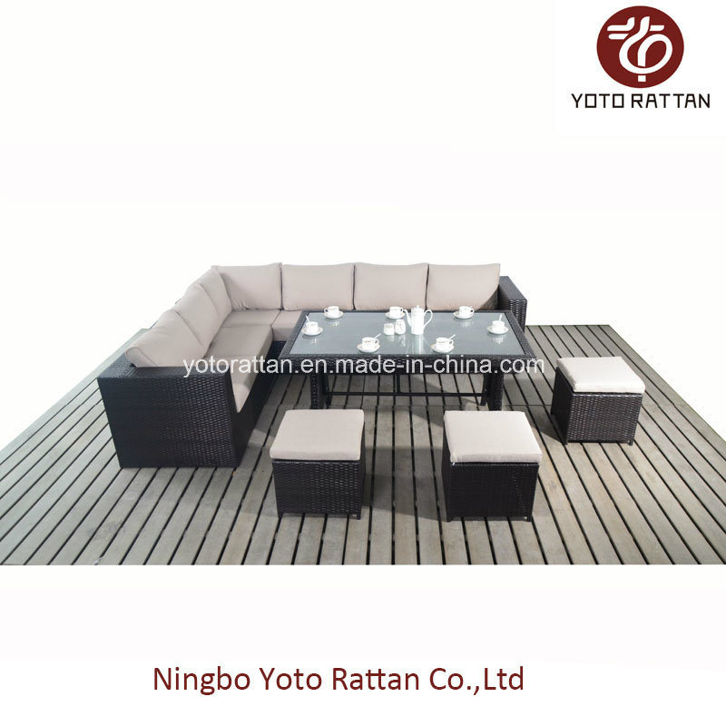 Steel Rattan Table Sofa Set (1104)