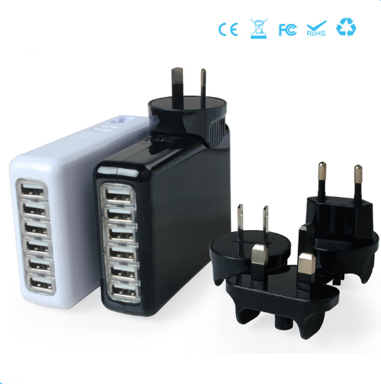 6 Ports Portable Charger Travel Charger Phone Charger Mobile Charger with Interchangeable Plugs 5V=6A