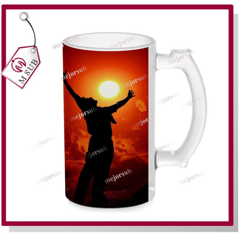 16oz Sublimation Frosted Glass Beer Mug with Logo