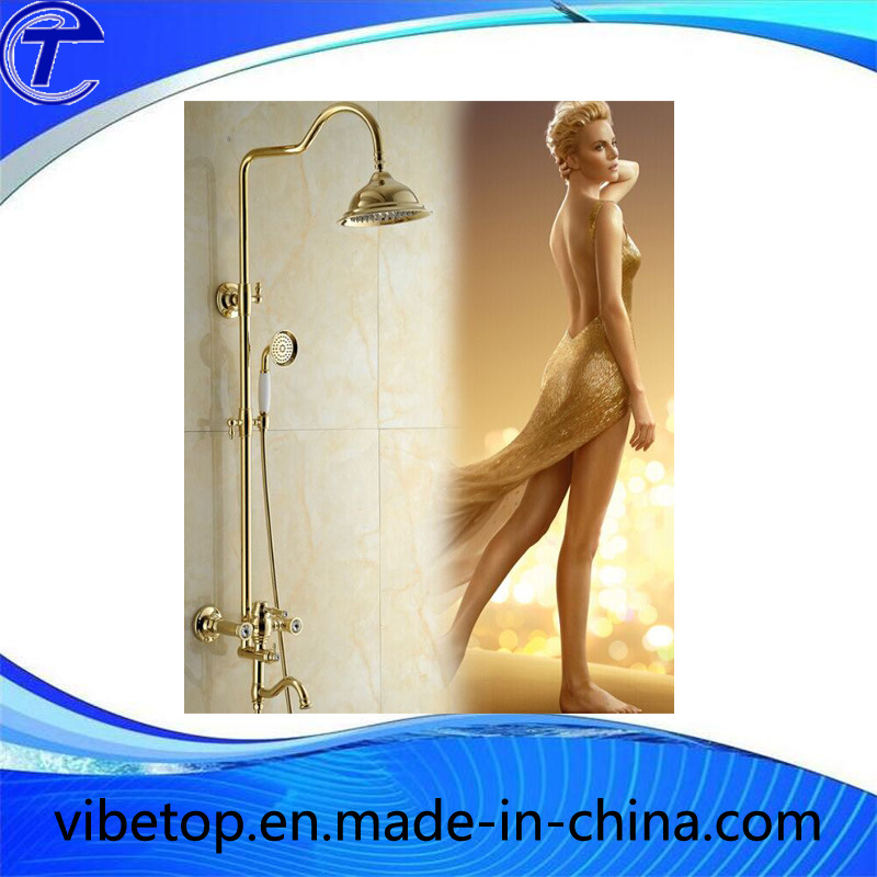 Rainfall Brass Gold Plated Single Hand Shower Set Faucet