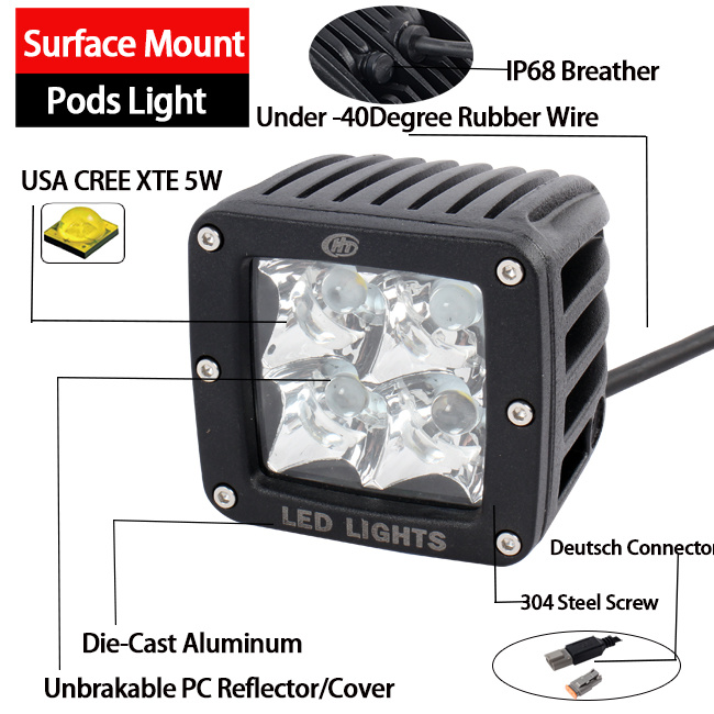 20W Pod LED Work Light (3inch, Diffused Flood, IP68 Waterproof)
