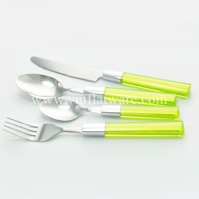 SGS, LFGB, Promotional Coloured Plastic Handle Stainless Steel Cutlery Set