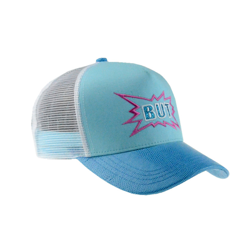 Custom 5 Panel Blue Mesh Cap Snapback Trucker Hat with Embroidery