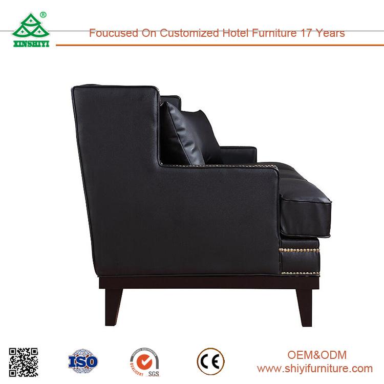 Modern Furniture Living Room Furniture Black 3 Seater Leather Sofa