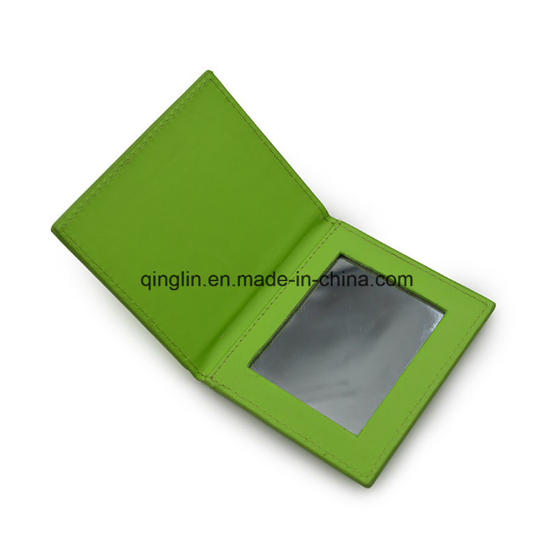 Custom Promotion Gift Green Leather Metal Makeup Mirror
