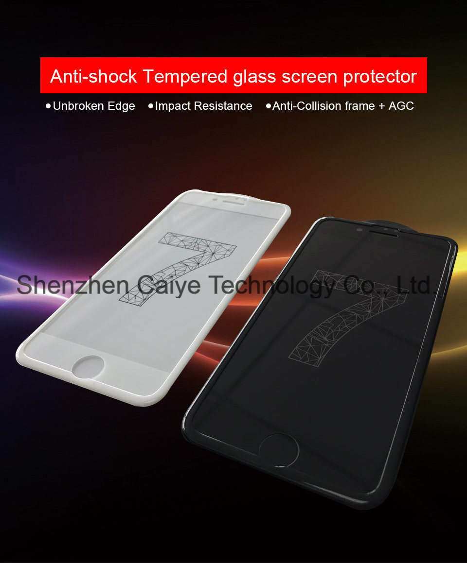 3D Anti-Shock Tempered Glass Mobile Phone Protector for iPhone 7 /7 Plus