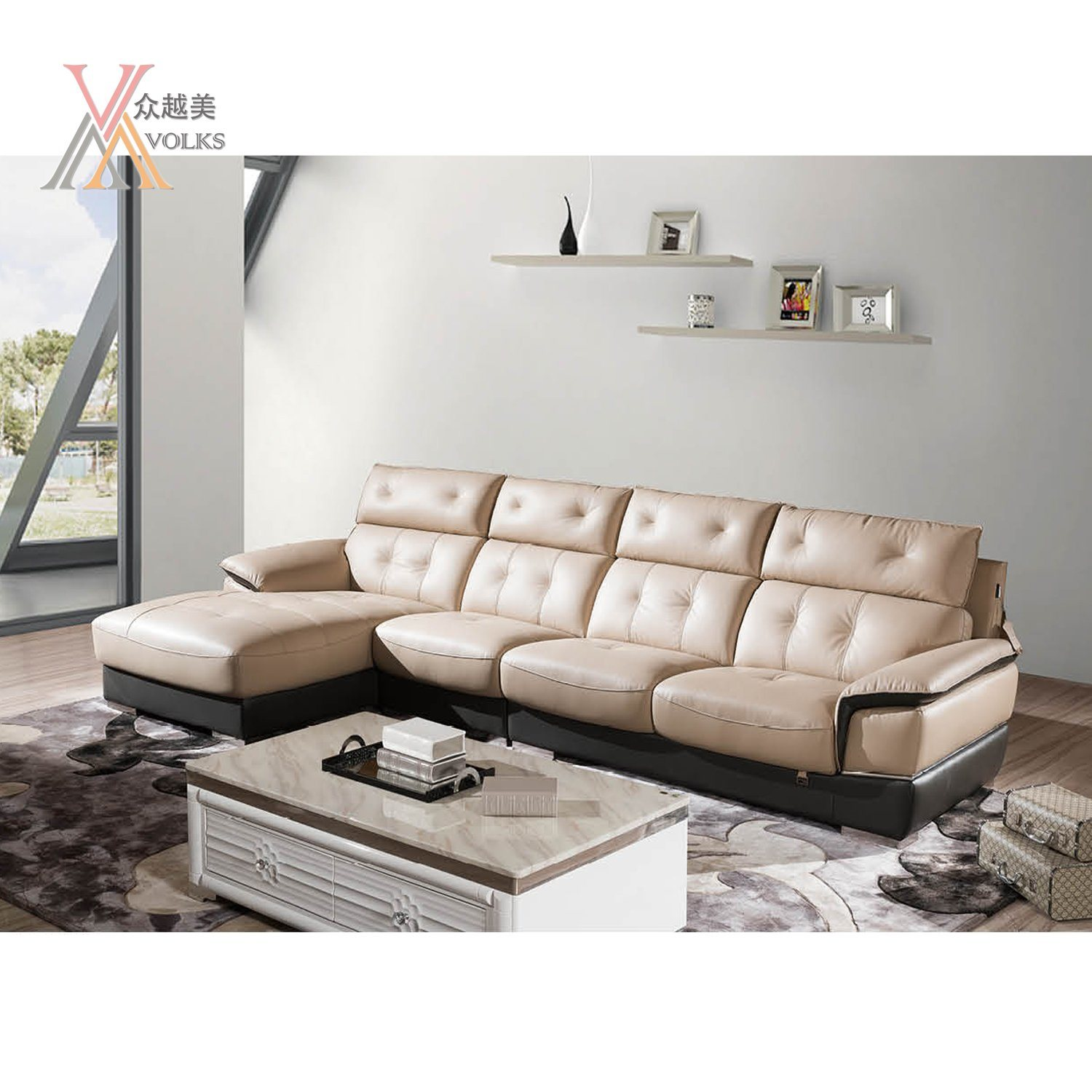 Modern Leather Sofa with Armrest (1652A)