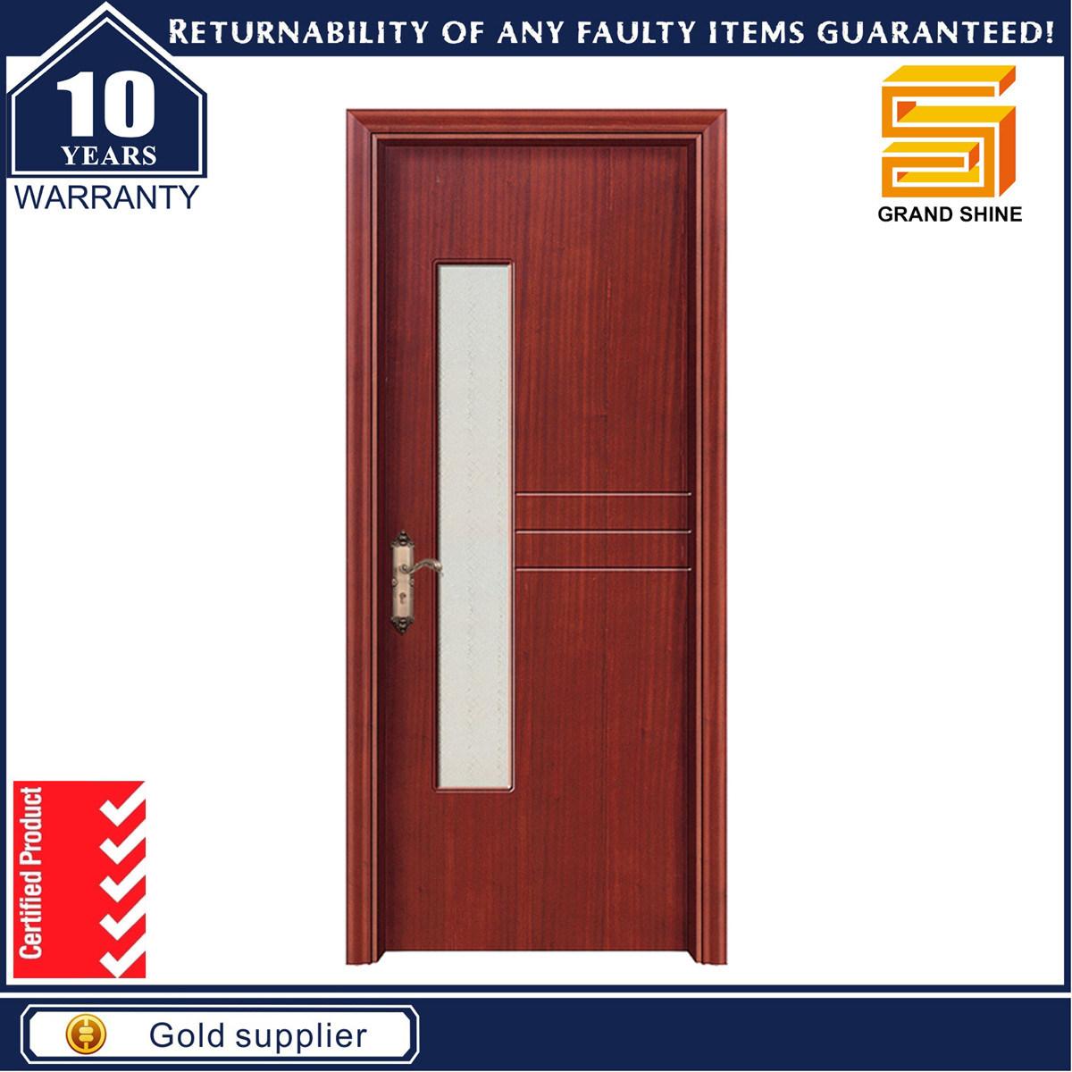 Solid Wooden Interior Composite Wood Door with Glass