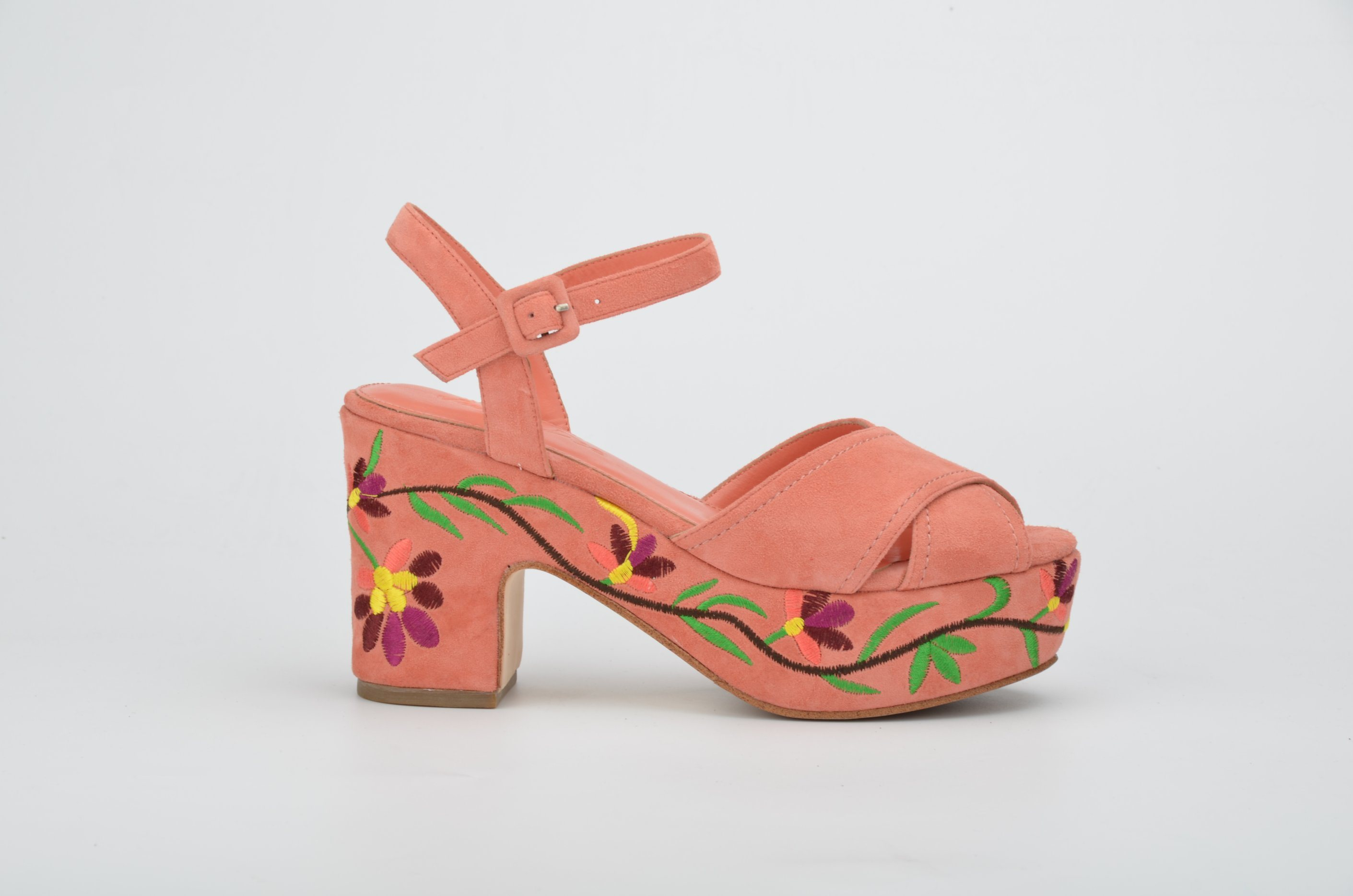 Lady Suede Leather Shoes High Heels Women Embroidery Platform Sandals