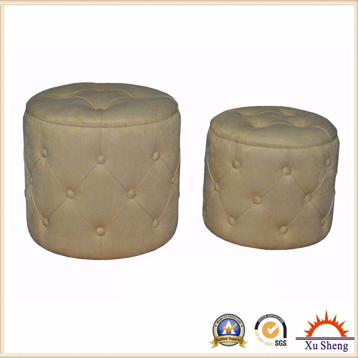 Wooden Button Tufted Linen Lift Round Storage Ottoman
