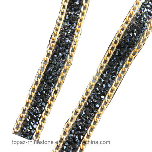 Gemstone Hotfix Lace Trim Iron on Diamond Rhinestone Chain for Clothing Accessories DIY (TS-15mm siam ab)