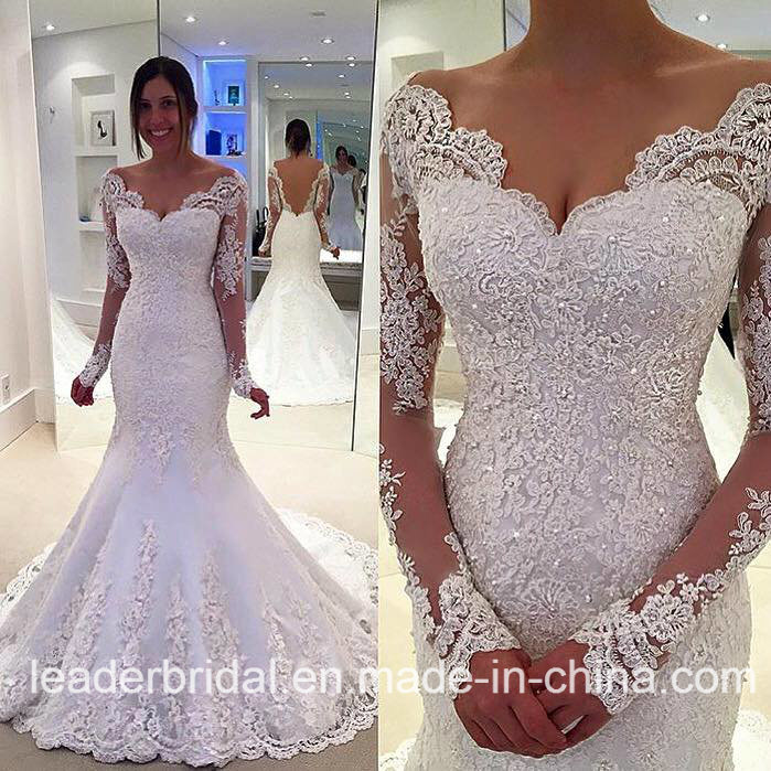 Lace Bridal Gowns V-Neck Beading Long Sleeves Wedding Dress Lb1898