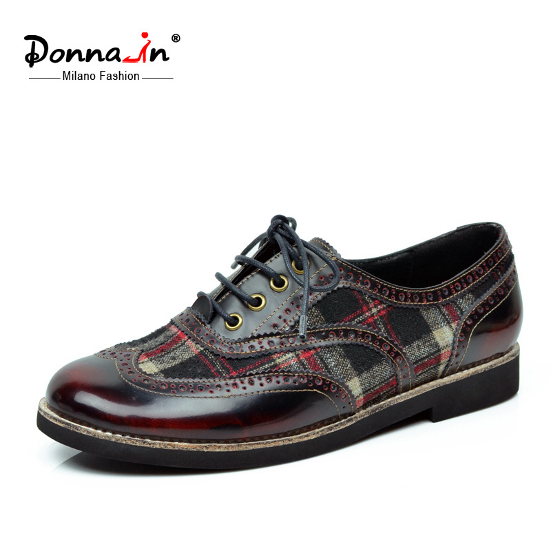 Casual Lady Brogue Leather Patchwok Oxfords Women Flat Shoes (CIF)