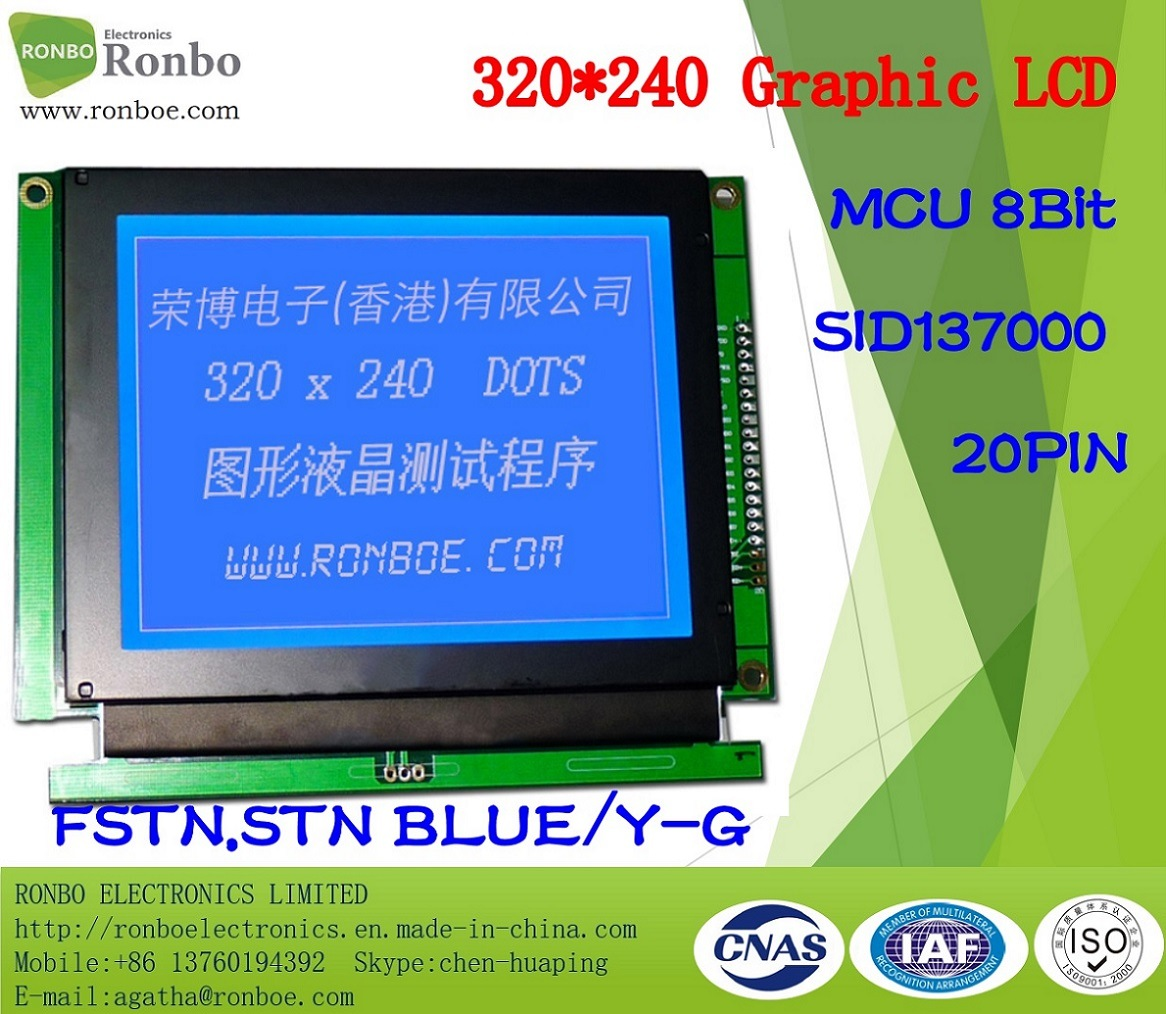 320X240 Graphic LCD Display, MCU 8bit, Sid137000, 20pin, COB Stn LCM Screen