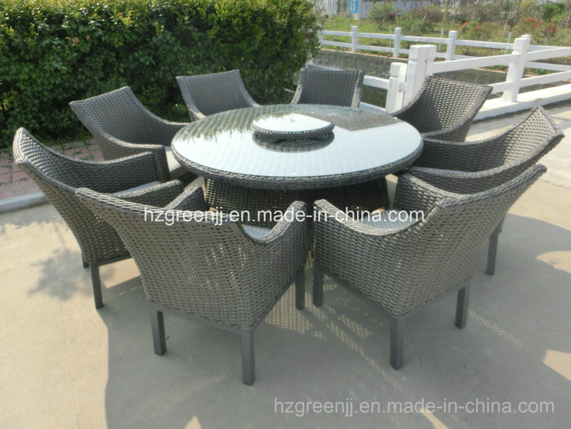 Round Dining Set with Lazy Susan 9 Pieces Rattan Furniture