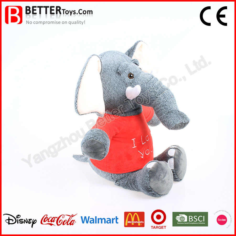 Realistic Stuffed Animals Soft Toy Elephant Wearing Cloth