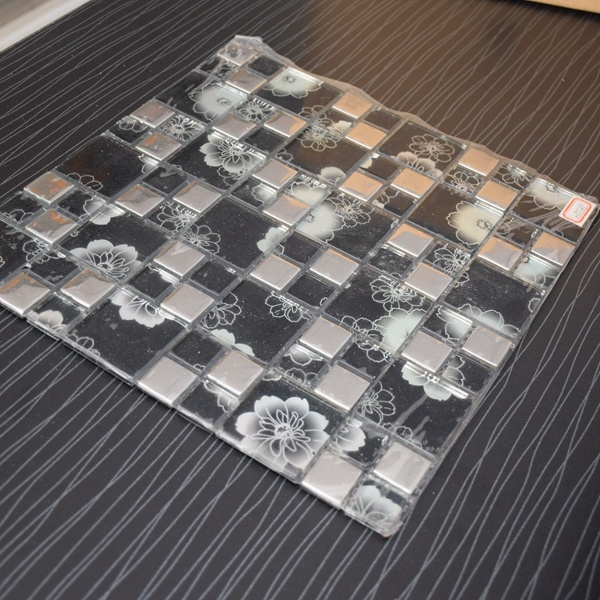 Good Quality Black Square Metal Mix Crystal Glass Mosaic Tile
