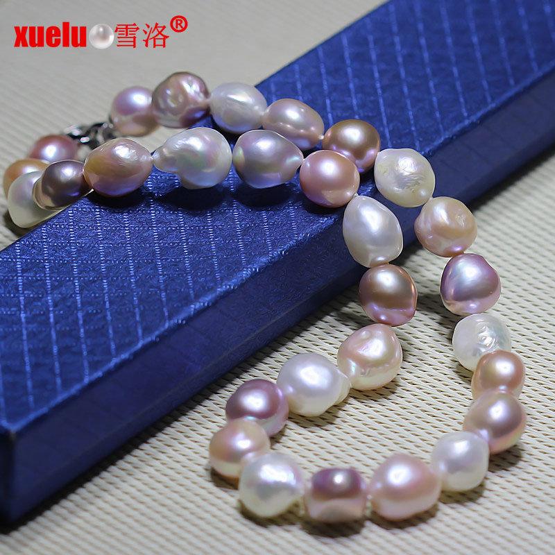 12-15mm Super Large Multicolor Baroque Cultured Pearl Necklace Jewelry (E130084)