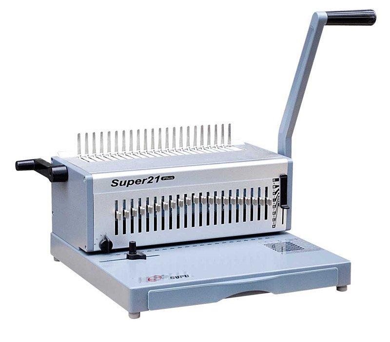 China Heavy Duty Manual Office Equipment  b Binding Machine For Book Binding And Punching SUPER21plus on spiral binder machines